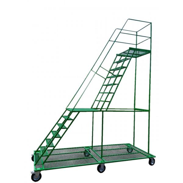 Лестница металлическая передвижная 2-х уровневая ДП-2